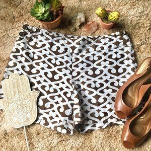 {Ann Taylor Loft} Brown & White Chino Dress Shorts